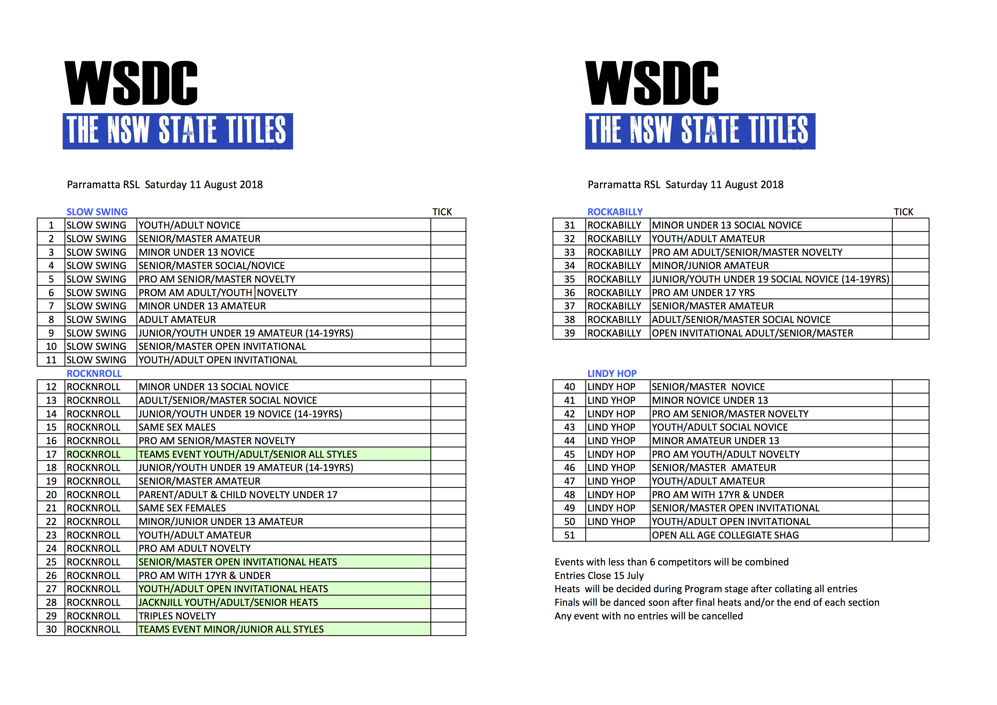 WSDC NSW STATE TITLES 2018